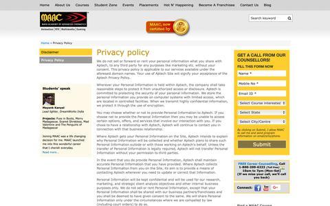 Screenshot of Privacy Page maacindia.com - Privacy Policy   maacindia.com - captured Sept. 30, 2018