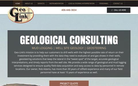 Screenshot of Home Page geo-link.net - MUD LOGGING-WELL SITE GEOLOGY-GEOSTEERING | Mud Logging & Geological Consulting - captured Jan. 27, 2016