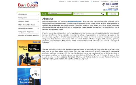 Screenshot of About Page buyonclicks.com - About Us Shop Online  Barcode Scanner, Mobile, Games & More at BuyOnClicks.Com - captured Feb. 8, 2016