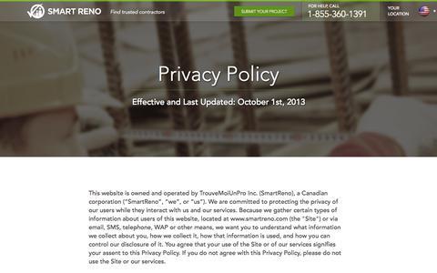 Screenshot of Privacy Page smartreno.com - Privacy   SmartReno - captured Sept. 17, 2014