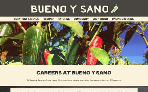 Screenshot of Jobs Page buenoysano.com - CAREERS | Mexican Restaurant - captured June 3, 2017