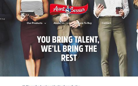 Screenshot of Jobs Page auntbessies.co.uk - Work For Aunt Bessie's - captured July 31, 2018