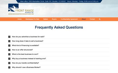 Screenshot of FAQ Page frontrangebusiness.com - Frequently Asked Questions | Front Range Business, Inc. - captured Sept. 24, 2018