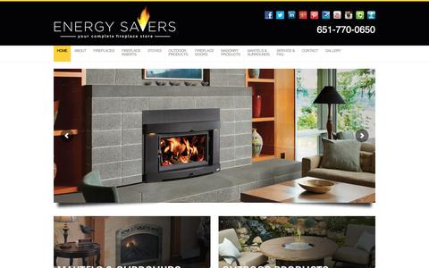 Screenshot of Home Page energysavers.us - ENERGY SAVERS | Your Complete Fireplace Store | Free In Home Estimates - captured Jan. 29, 2016