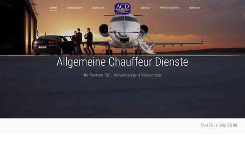 Screenshot of Home Page acd-hannover.de - ACD- Chaufferdienst Hannover – Limousinen- und Chauffeurservice Hannover. - captured May 2, 2018