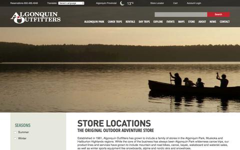 Screenshot of Locations Page algonquinoutfitters.com - Store Locations Archive - Algonquin Outfitters - Your Outdoor Adventure Store - captured July 29, 2018
