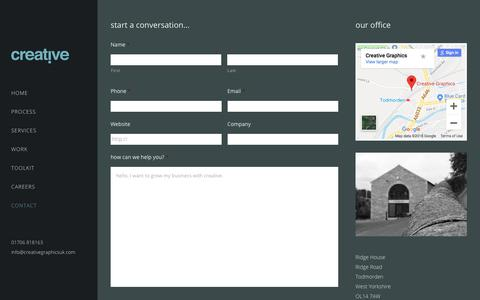 Screenshot of Contact Page creativegraphicsuk.com - contact us. - creative. - captured Sept. 24, 2018