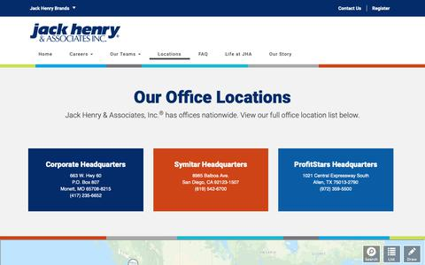 Screenshot of Locations Page jackhenry.com - Locations - Jack Henry Careers - captured Feb. 2, 2019