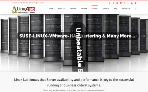 Screenshot of Support Page linuxlab.org - Linux RedHat SUSE Ubuntu Cent OS Server Support | Best Linux VMware Cloud Computing Training in pune - captured Nov. 21, 2017