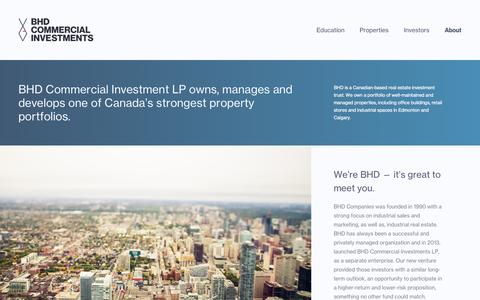Screenshot of About Page bhdci.com - About | BHD Commercial Investments - captured Sept. 19, 2014