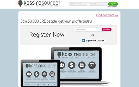 Screenshot of Home Page kossresource.com - Koss REsource | Commercial Real Estate Real Easy - captured Sept. 30, 2014