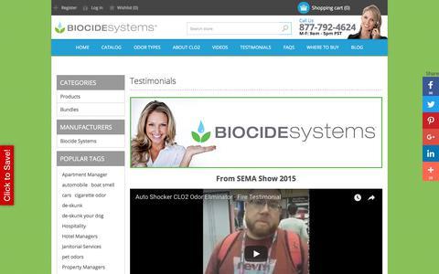 Screenshot of Testimonials Page biocidesystems.com - Testimonials abour Bio-Shocker odor removal. - captured Sept. 13, 2018