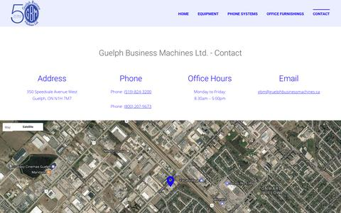 Screenshot of Contact Page guelphbusinessmachines.ca - Contact | Office Equipment | Office Furniture | Office Phones | Guelph Business Machines Ltd. - captured May 5, 2017
