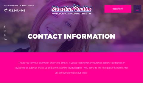 Screenshot of Contact Page showtimesmiles.com - Showtime Smiles Orthodontics | The Best Orthodontist Near Me - captured Sept. 20, 2018