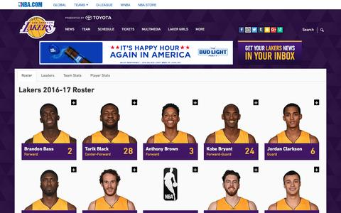 Screenshot of Team Page nba.com - Roster | Los Angeles Lakers - captured June 29, 2016