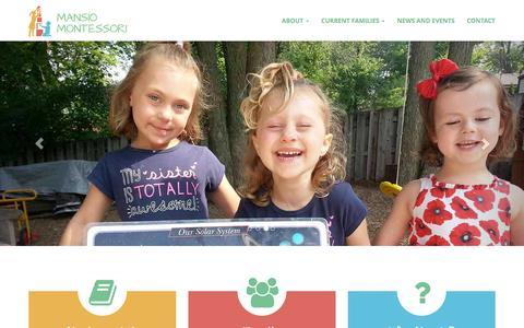 Screenshot of Home Page genevamontessori.org - An Independent Geneva School - Mansio Montessori - captured Jan. 22, 2016