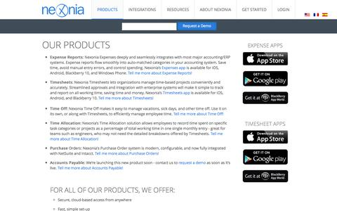 Screenshot of Products Page nexonia.com - Expense Reporting Mobile Apps - Nexonia - captured Nov. 5, 2014