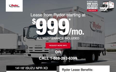 Screenshot of Landing Page ryder.com - LIMITED TIME OFFER - $999 Per Month Lease - captured April 8, 2018
