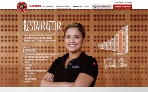 Screenshot of Jobs Page chipotle.com - plan de carrera - captured Sept. 25, 2018