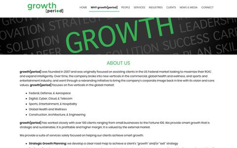 Screenshot of About Page growthperiod.com - About Us - growth. - growth[period] -  Business Development and Merger and Acquisition Support - captured Nov. 1, 2018
