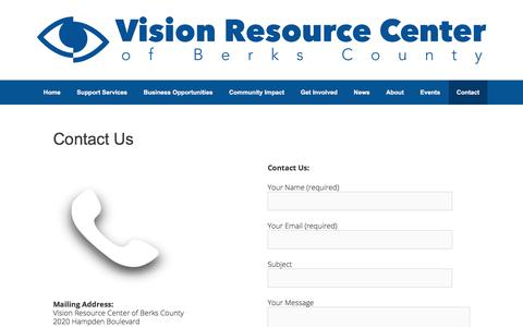 Screenshot of Contact Page vrcberks.org - Contact Us - Vision Resource Center of Berks County - captured Nov. 22, 2017