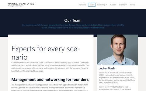 Screenshot of Team Page hanseventures.com - Hanse Ventures ·   Team - captured July 3, 2016