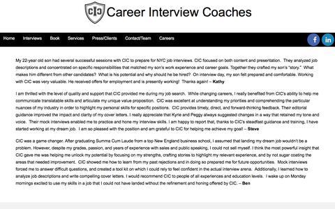 Screenshot of Testimonials Page collegeinterviewcounselors.com - Career - Testimonials - College Interview Counselors - captured Nov. 9, 2016