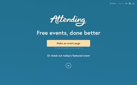 Screenshot of Home Page attending.io - Attending — Free events, done better - captured Sept. 18, 2014