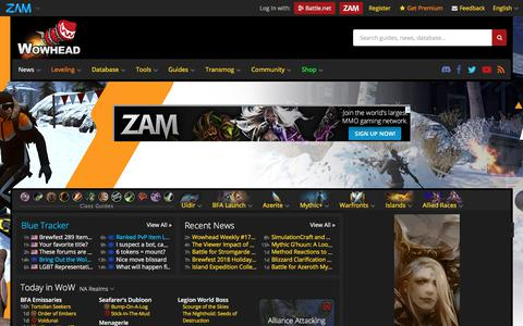 Screenshot of Home Page wowhead.com - Wowhead: It's dangerous to go alone! Take this. - captured Sept. 20, 2018