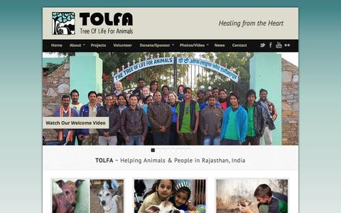 Screenshot of Home Page tolfa.org.uk - TOLFA (Tree of Life for Animals) - Healing from the Heart - captured Oct. 6, 2014