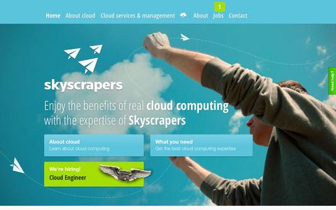Screenshot of Home Page skyscrapers.eu - Skyscrapers - Cloud Consultancy, DevOps  and Management - captured Jan. 25, 2015