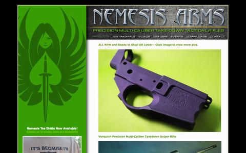 Screenshot of Products Page nemesisarms.com - Nemesis Arms - Precision Multi-Caliber Take-Down Tactical Rifles - captured Oct. 9, 2014