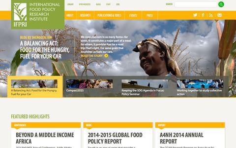 Screenshot of Home Page ifpri.org - IFPRI - captured Sept. 7, 2015