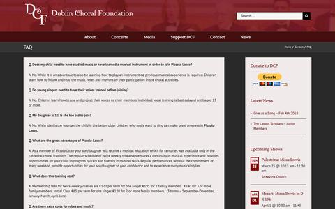 Screenshot of FAQ Page dublinchoralfoundation.ie - FAQ – Dublin Choral Foundation - captured March 13, 2018