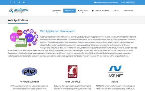 Screenshot of Services Page artificers.in - Web Applications | Welcome to Artificers Technologies - captured May 20, 2016