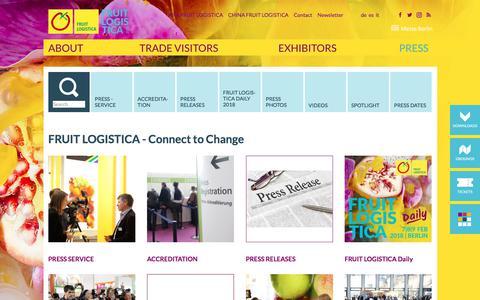 Screenshot of Press Page fruitlogistica.com - FRUIT LOGISTICA - Press - captured Feb. 12, 2018