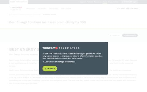 Screenshot of Case Studies Page tomtom.com - Best Energy Solutions increases productivity by 30% — TomTom Telematics US - captured Feb. 24, 2019