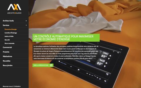 Screenshot of Services Page architexaudio.com - Économie d'énergie avec la domotique | Architex Audio - captured Sept. 30, 2014