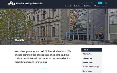 Screenshot of About Page chemheritage.org - About Us | Chemical Heritage Foundation - captured Nov. 5, 2016