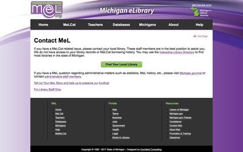 Screenshot of Contact Page mel.org - Michigan eLibrary (MeL) - Contact Us - captured June 21, 2017