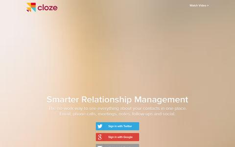 Screenshot of Home Page cloze.com - Cloze - Relationship Management, Inbox, and Contacts in One App - captured Dec. 11, 2015