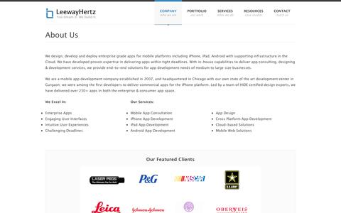 Screenshot of About Page leewayhertz.com - Mobile App Development Company | Based in Chicago & California - captured Sept. 19, 2014