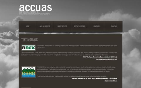 Screenshot of Testimonials Page accuas.com - Accuas | Unmanned Aerial Surveys (UAS) - captured Sept. 30, 2014