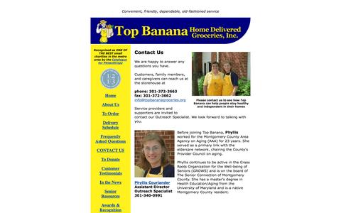 Screenshot of Contact Page topbananagrocer.org - Contact Us | Top Banana Home Delivered Groceries - captured June 22, 2016