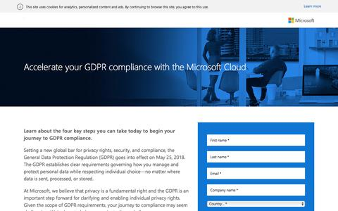 Screenshot of Landing Page microsoft.com - Accelerate GDPR compliance with the Microsoft Cloud e-book - Microsoft - captured March 3, 2018