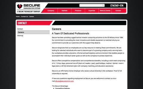 Screenshot of Jobs Page securecomm.com - Careers - Secure Communication Systems - captured Nov. 2, 2014