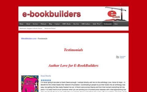 Screenshot of Testimonials Page e-bookbuilders.com - Testimonials - E-BookBuilders - captured Nov. 3, 2014