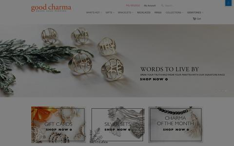 Screenshot of Home Page goodcharma.com - Good Charma | Sterling Silver Charm Bracelets, Necklaces, and Rings - captured Dec. 12, 2015