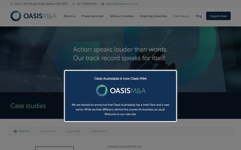 Screenshot of Case Studies Page oasisma.com.au - Oasis Mergers & Acquisitions Case Studies - captured Aug. 11, 2016