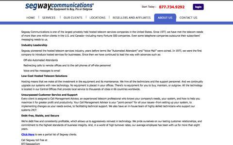 Screenshot of About Page segwaycommunications.com - Segway Communications About Us - captured Feb. 6, 2016